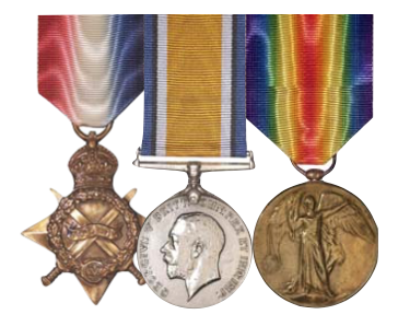 L-R: 1914-1915 Star, British War Medal, The Victory Medal