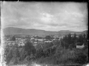 View of town, probably Rotorua. Photograph taken ca 1895-1916, probably by Robina Nicol of Wellington.
