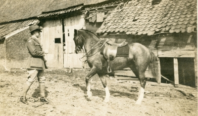 My great grandfather Norman Morriss with his horse he used for transport while he was fighting in Northern France.