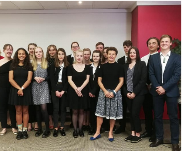 The French and New Zealand Young Ambassadors with the French Ambassador to New Zealand, Her Excellency Florence Jeanblanc-Risler. 23 April 2018