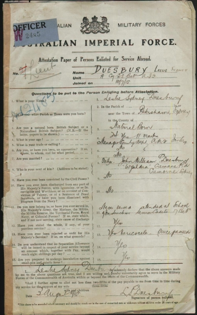 Leslie Sydney Duesbury's attestation form, signed 3rd August 1915