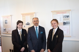 Shared Histories exhibition Opening in Wellington. Baradene College students Olivia Mendonca and Genevieve Bowler with the Governor-General of New Zealand, Sir Jerry Mateparae.