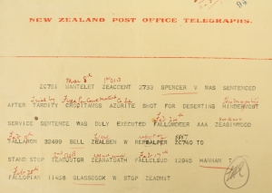 News of Victor Spencer's Execution in Coded telegram
