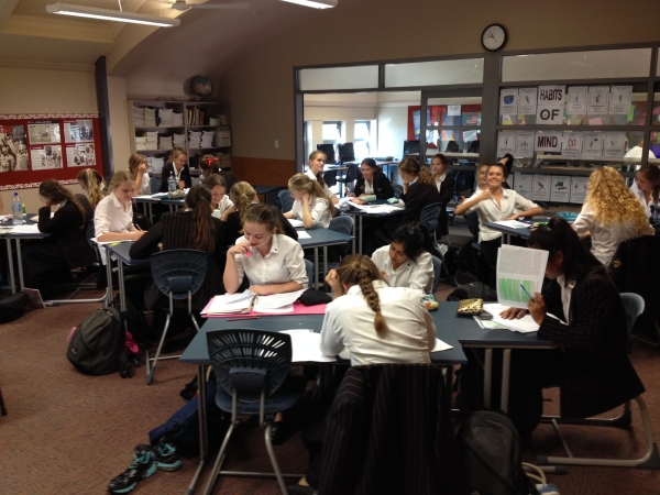 One of the Year 12 History classes at Baradene College, Auckland. Enthusiastic students at work!