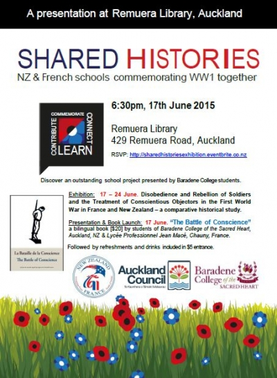 Remuera Library Exhibition - from 17 June 2015 - Auckland/ Exposition Bibliothèque de Remuera - Auckland NZ - à partir du 17 Juin 2015