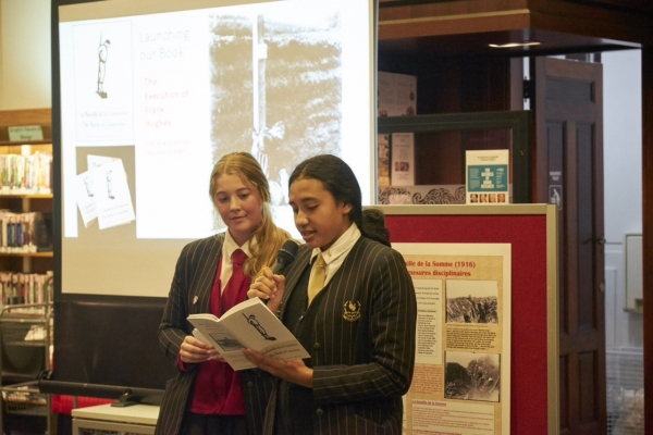 "Baradene College students reading from ""The Battle of Concience"" at the book launch"