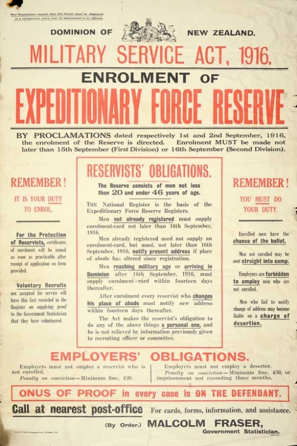 Enrolment requirement form issued in 1916 (lists what will happen to those who don't enlist)